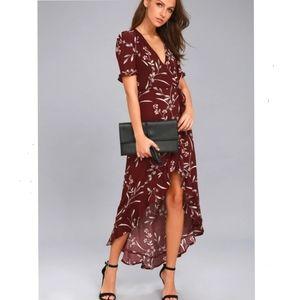 Lulu's Wild Winds burgundy wrap dress